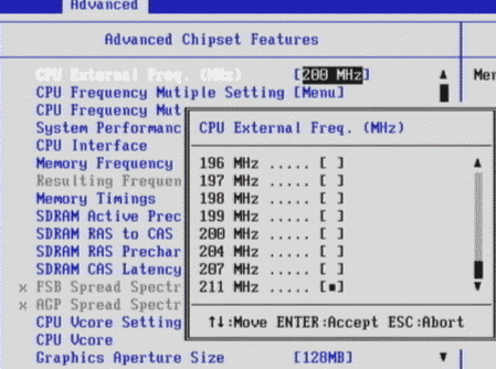 CPU external frequency